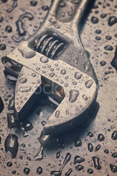 アジャスタブル スパナ 水滴 黒 金属 ストックフォト © neirfy