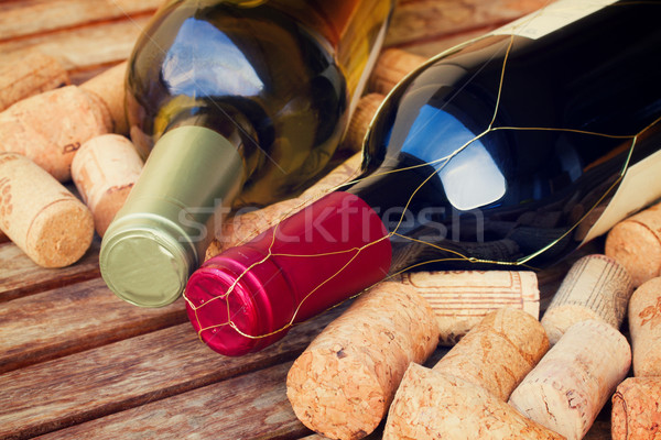 white and red  wine bottles Stock photo © neirfy