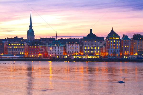 Ufuk çizgisi Stockholm İsveç gün batımı manzara Stok fotoğraf © neirfy