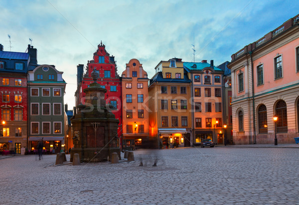 Nacht Stockholm vierkante Zweden weg stad Stockfoto © neirfy