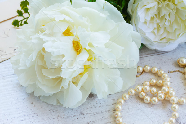 White peony flowers Stock photo © neirfy