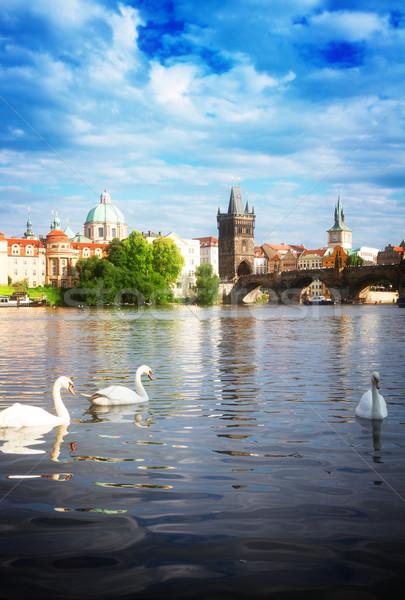 Híd fehér folyó Prága köztársaság égbolt Stock fotó © neirfy