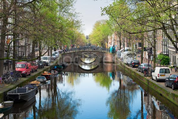 Brug Nederland rij bruggen kanaal spiegel Stockfoto © neirfy