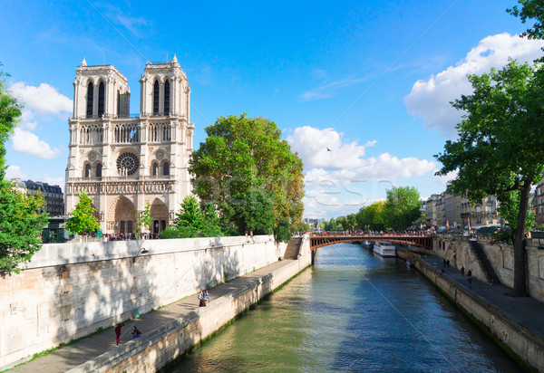 ノートルダム大聖堂 パリ フランス 川 空 ストックフォト © neirfy
