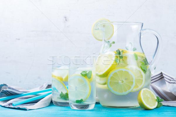 Limonádé házi készítésű ital menta gyógynövény bögre Stock fotó © neirfy