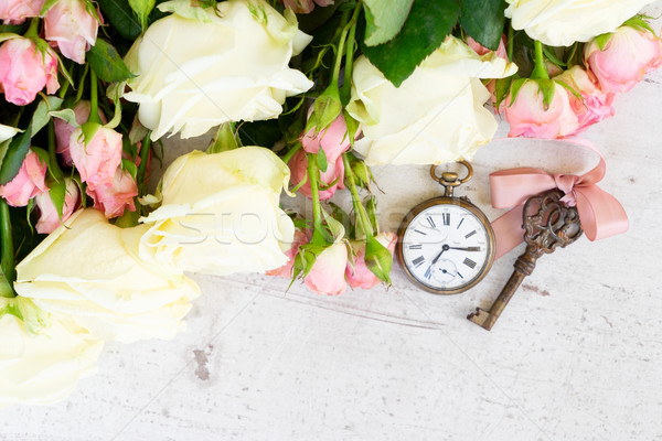 Pink and white blooming roses Stock photo © neirfy