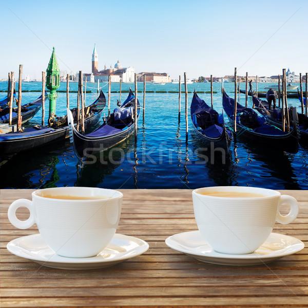 Csésze kávé Velence kilátás lebeg csatorna Stock fotó © neirfy