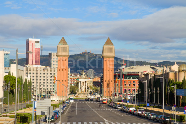 square of Spain with venetian towers, Barcelona Stock photo © neirfy