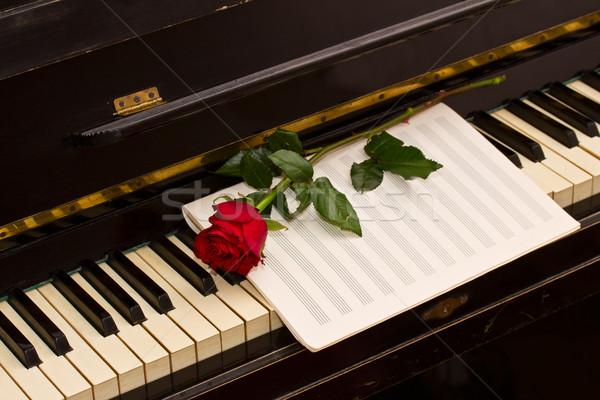 ストックフォト: バラ · ノート · 紙 · ピアノ · ヴィンテージ · 花