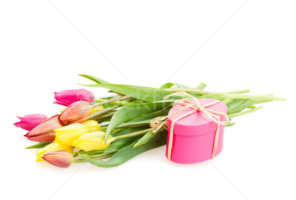 Posy of tulips flowers with gift box Stock photo © neirfy