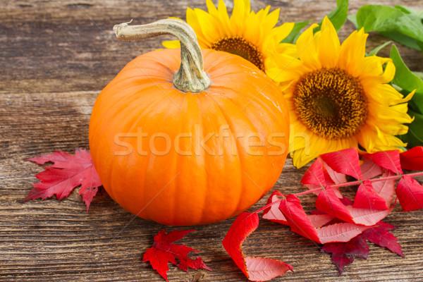 Pompoen tabel een oranje zonnebloemen Rood Stockfoto © neirfy