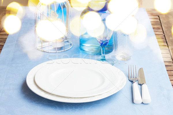 Tafelgerei Blauw kleuren ingesteld platen Stockfoto © neirfy