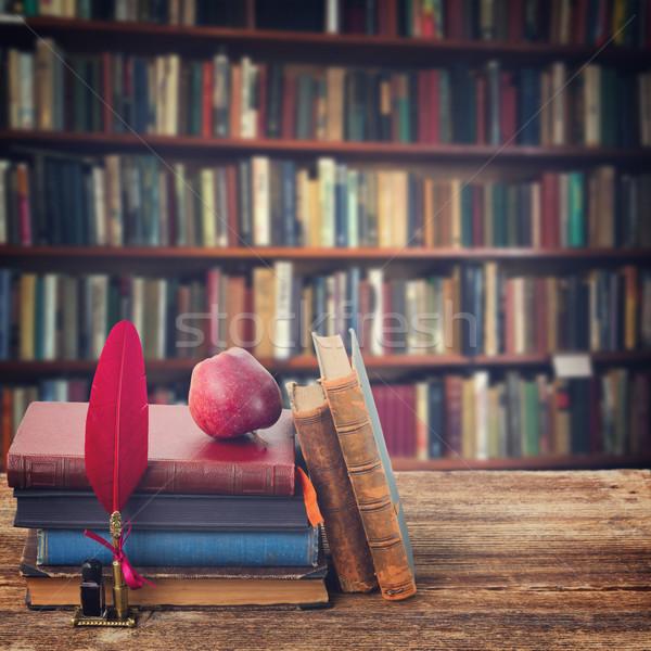 Bookshelf, retro toned Stock photo © neirfy