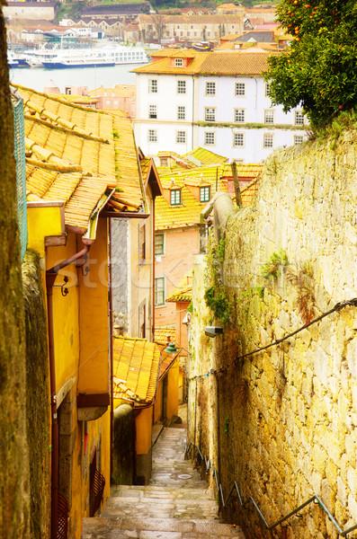 Straat oude binnenstad Portugal smal trap retro Stockfoto © neirfy