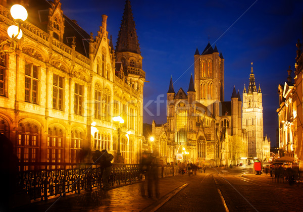 Saint Nicholas Church and Belfry tower, Gent Stock photo © neirfy