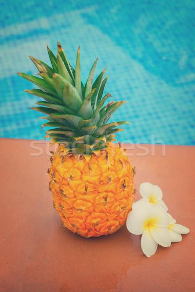Stockfoto: Ananas · zwembad · ruw · geheel · Geel · bloemen