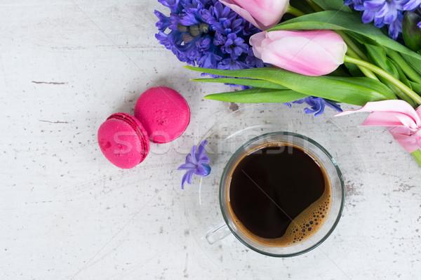 チューリップ 新鮮な 花 カップ コーヒー 休日 ストックフォト © neirfy