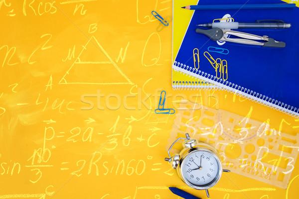 Terug naar school scène Blauw Geel schoolbenodigdheden math Stockfoto © neirfy