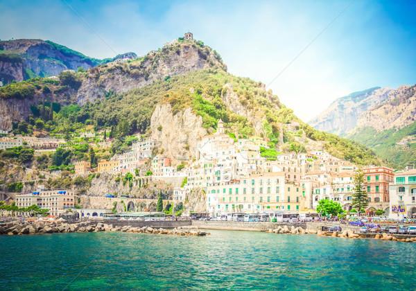 Kust Italië stad zee retro water Stockfoto © neirfy