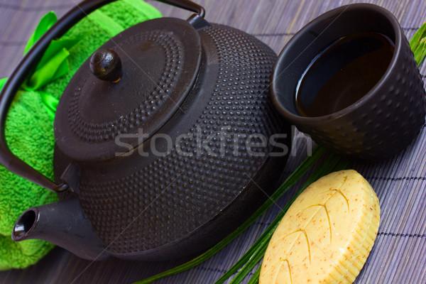 Foto d'archivio: Asian · tè · set · spa · bambù