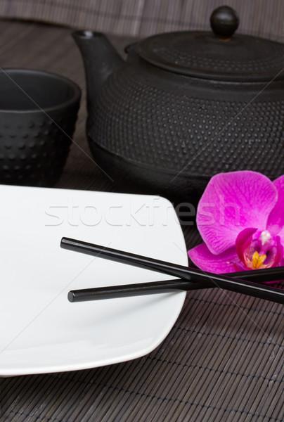 Vuota piatto bacchette ferro tè Foto d'archivio © neirfy