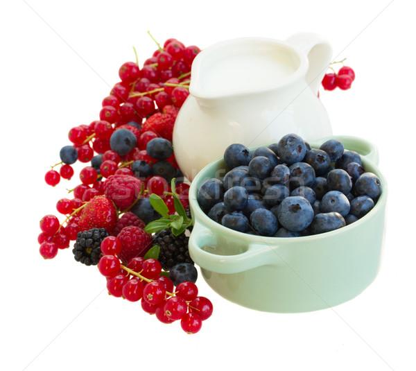 fresh berries with jug of  milk Stock photo © neirfy