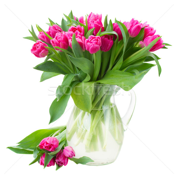 bouquet of double  pink tulips in vase Stock photo © neirfy