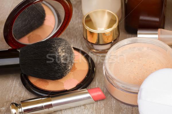 Fundamenteel make producten stichting poeder lippenstift Stockfoto © neirfy