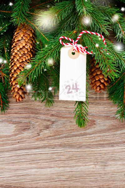 Vrolijk christmas tag 24 december Stockfoto © neirfy