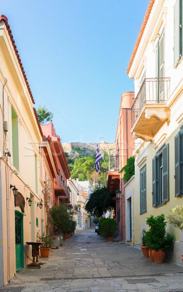 Straat klein gezellig wijk heuvel gebouw Stockfoto © neirfy