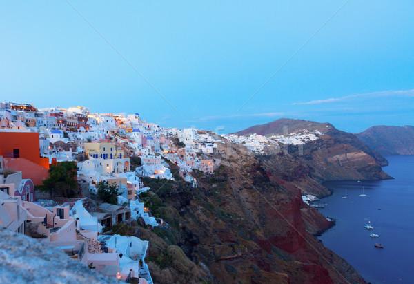 Stock fotó: Falu · éjszaka · Santorini · égbolt · város · naplemente
