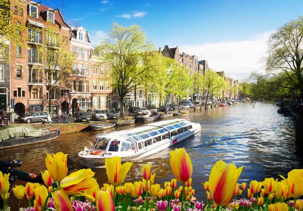 Huizen Amsterdam Nederland nederlands kanaal boot Stockfoto © neirfy