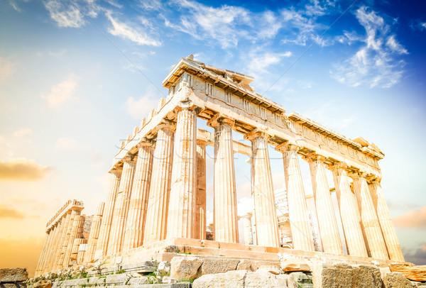 Partenon templo Atenas nascer do sol céu Acrópole Foto stock © neirfy