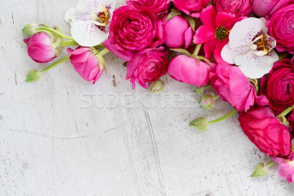 Stok fotoğraf: çiçekler · sınır · taze · orkide · beyaz · ahşap