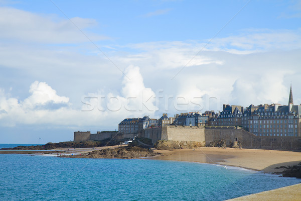 Beach in St Malo old toen, Brittany, France Stock photo © neirfy