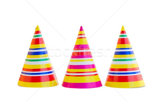 Három sapkák születésnapi buli izolált fehér boldog Stock fotó © neirfy