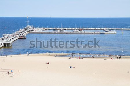 Pier oostzee Polen hemel water gebouw Stockfoto © neirfy