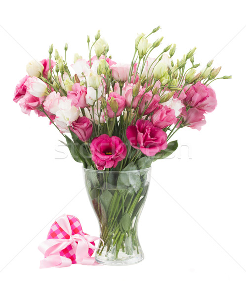 Pink eustoma flowers with  present  box Stock photo © neirfy