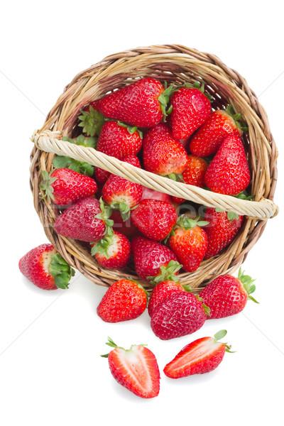 Stockfoto: Vers · aardbeien · mand · rechtstreeks · boven