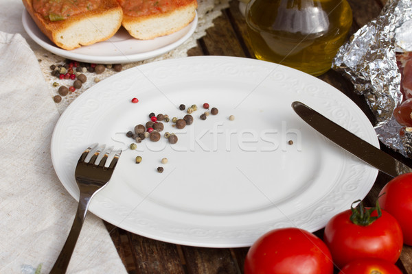 empty plate with knife and fork Stock photo © neirfy