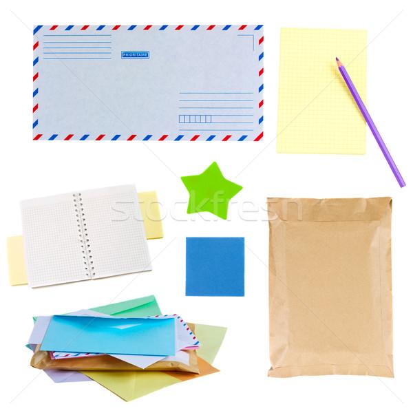 Foto stock: E-mail · notas · adesivos · isolado · branco · negócio