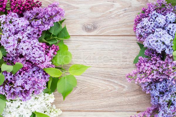Friss orgona virágok keret ibolya fa asztal Stock fotó © neirfy
