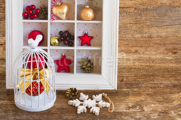 Kooi christmas bal plank decoraties houten Stockfoto © neirfy