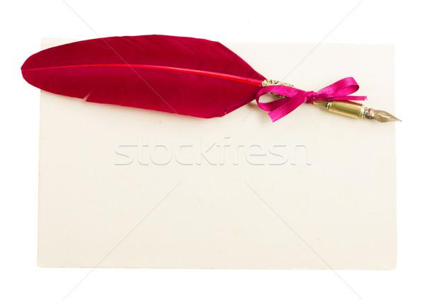 Pena caneta vermelho página papel isolado Foto stock © neirfy