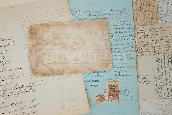 Stock fotó: öreg · kézzel · írott · levél · szett · antik · levelek