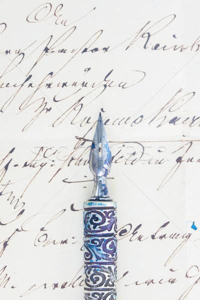 Stock fotó: Toll · toll · öreg · kézzel · írott · levél · közelkép