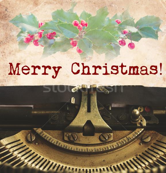 Merry Christmas typewriter Stock photo © neirfy