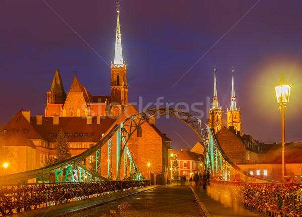 Brug eiland Polen oude binnenstad nacht hemel Stockfoto © neirfy