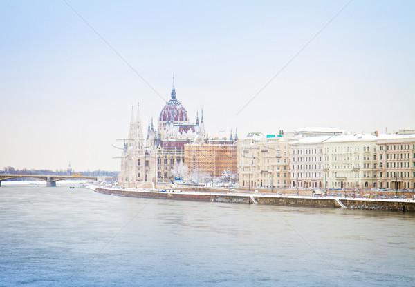 Parlamento Budapest costruzione danubio fiume Ungheria Foto d'archivio © neirfy