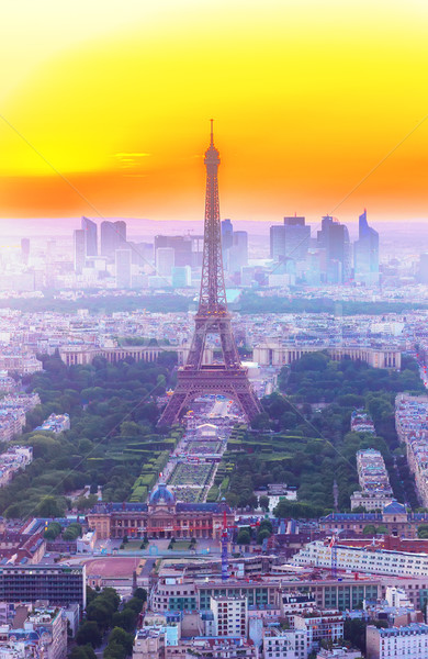 Eyfel Kulesi Paris Cityscape üzerinde turuncu gün batımı Stok fotoğraf © neirfy